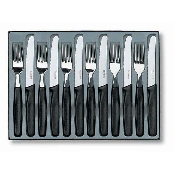 Victorinox Cutlery Table Set 12 Piece Rounded Wavy Knife & Fork